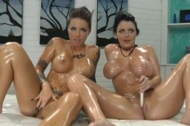 Christy Mack and Sophie Dee – oiled babes